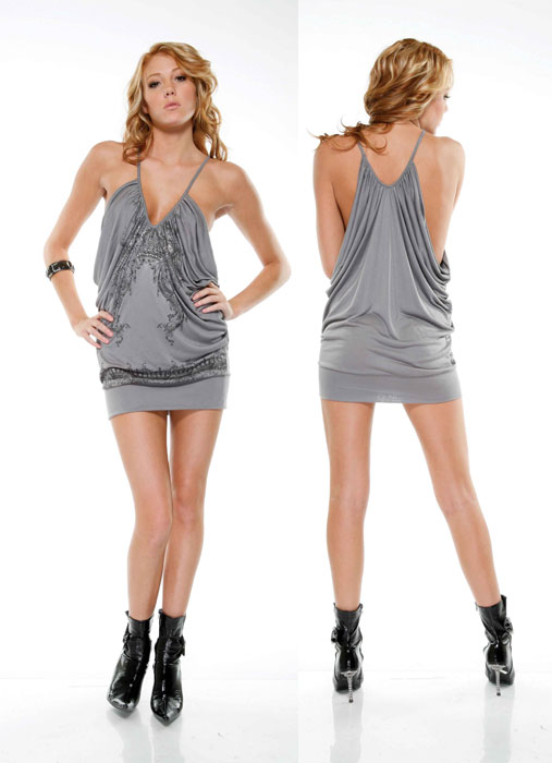 mini vestido blitz gray