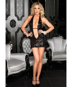 Mini Vestido La Deep V Sequin Halter