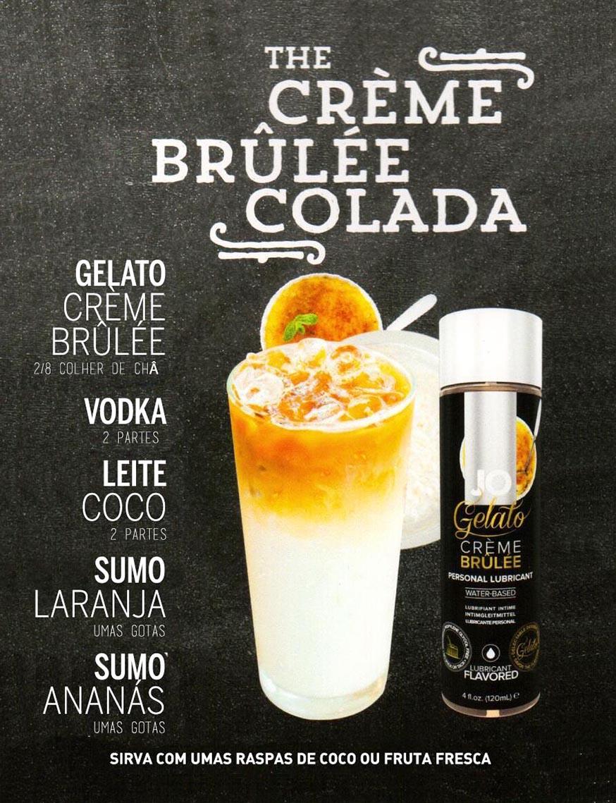 Drinks Eróticos - The Creme Brulee Colada com Lubrificante Jo Gelado de Leite Creme