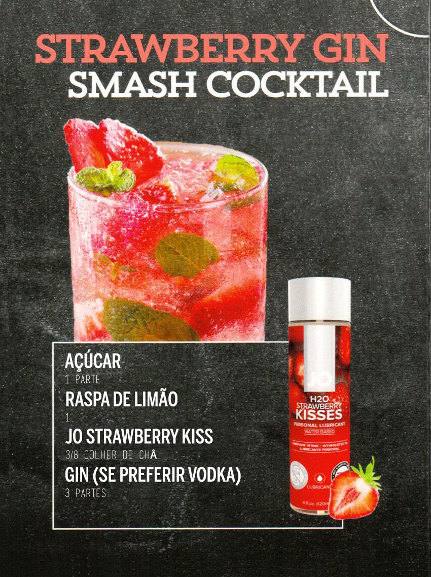 Drinks Eróticos - Strawberry Gin Smach Cocktail com Lubrificante Jo H2O Morango