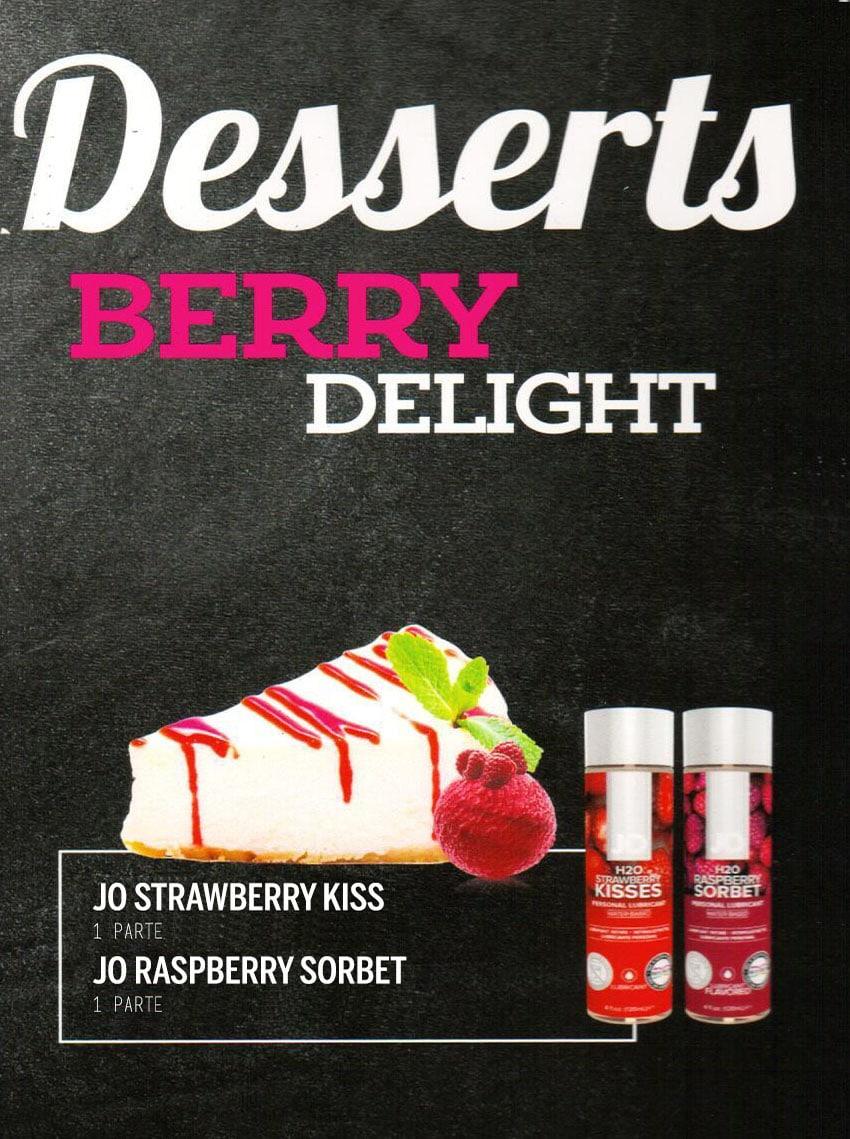 Sobremesas Eróticas - Berry Delight com Lubrificantes Jo H2O Morango e Framboesa